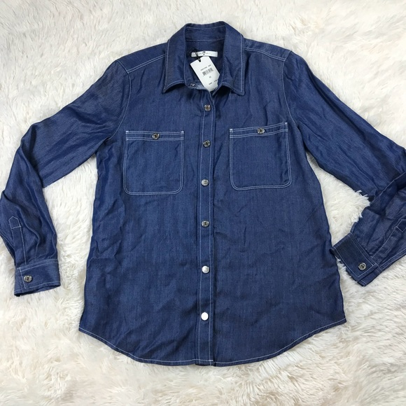 79af3069fd 7 For All Man Kind Button Up Blouse Chambray Snap